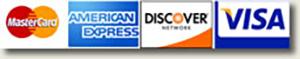 We Accept MasterCard, American Express, Discover, VISA